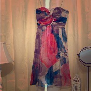 Strapless chiffon floral print  Donna Morgan dress